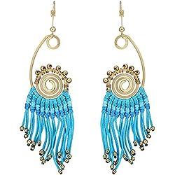 Chic-Net pendientes de bronce de oro etno boho largos filamentos en espiral tapa de cerámica azul