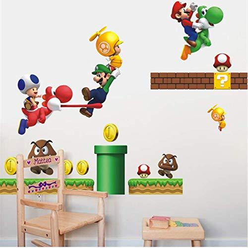WUDHF Super Mario Wandaufkleber Für Kinderzimmer Dekoration DIY Cartoon Spiel Thema PVC Wandkunst Jungen Schlafzimmer Wandtattoos