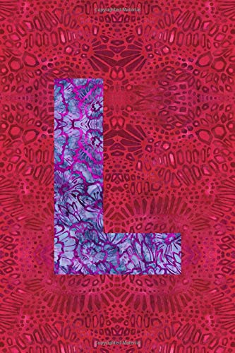 L: 6x9 lined journal : colorful batik pattern : initial L -