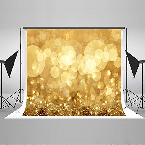 KateHome PHOTOSTUDIOS 2,2x1,5m Gelb Glitzer Photography Hintergrund Golden Gelb Kreis Hintergrund Glänzend Pailletten für Hochzeit Portrait Party Kinder Baby Foto Prop Studio
