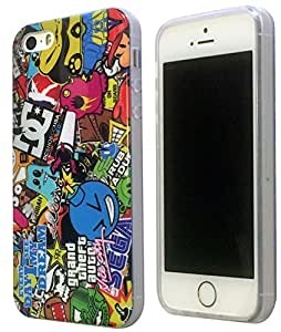 Sticker Bomb Stickerbomb Style Designer iphone 5 5S Coque arriere Coque Case-Silicone Gel Coque