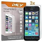 Pack 3X Pellicola salvaschermo per iPhone 5 / 5S / 5C / SE, Pellicole salvaschermo Vetro Temperato 9H+, di qualità Premium, Elettronica Rey
