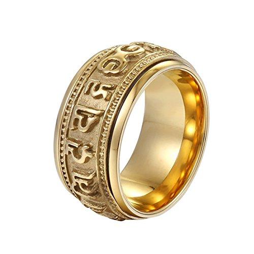 n Ring Männer Om Mani Padme Hum Buddhism Punk Herrenring Freundschaftsringe Gold Größe 62 (19.7) (18 Karat Gold Ring Für Männer)