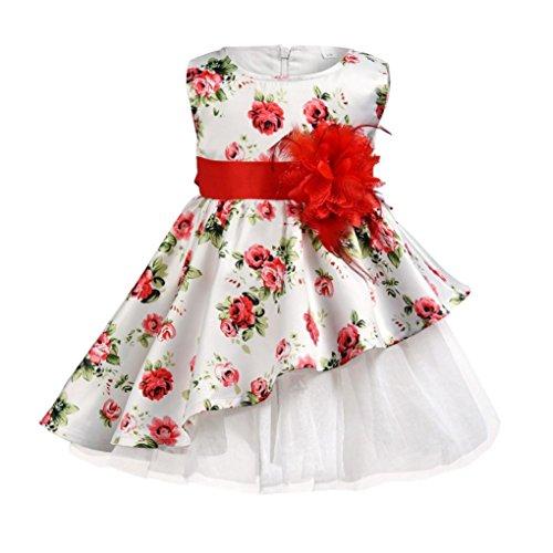 Festliches Mädchen Kleider, Longra Baby Kinder Mädchen Ärmellos Sommerkleider Blumendruck Kleider Schöne Kleider Kinder Vintage Retro Kleid Hochzeit Brautjungfer Partykleid (Red, 80CM 12Monate)