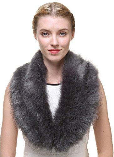 Faux Pelz-bomber (Vogueearth Damen'Faux Pelz Pelzimitat Kunstfell Hals Schal For Winter Mantel Halsband Dunkel Grau)