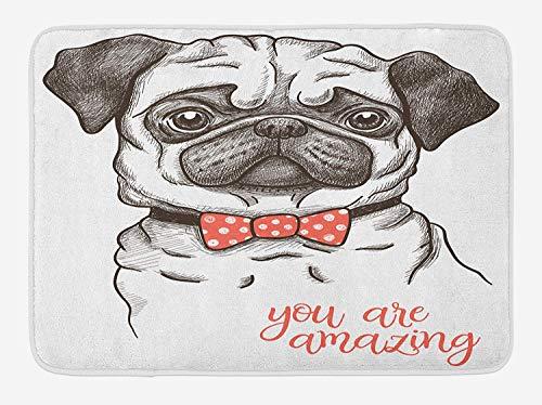 Pug Bath Mat, Portrait of Dog Cartoon Style Bow Tie on a Pug Pet Fun Comedic Image Fashionable Animal, Plush Bathroom Decor Mat with Non Slip Backing, 15.7X23.6 inch, Black Red