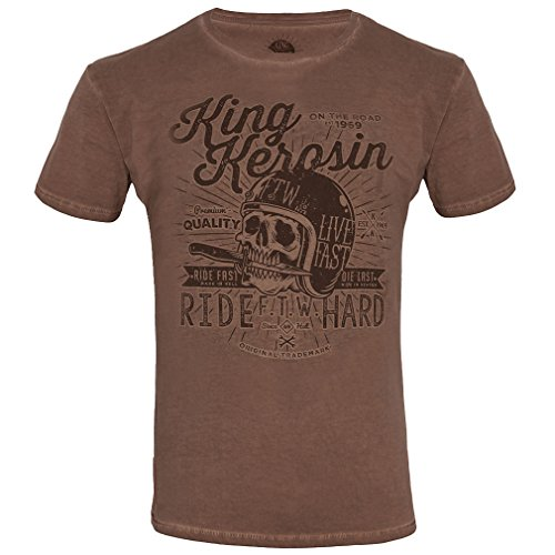 King Kerosin Oilwashed Biker T-Shirt - Made In Hell Braun XL