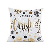 Janly® Gold Cushions Foil Printing Pillow Case Sofa Waist Throw Cushion Cover Geometric Merry Christmas Pillowcases Home Decor Accessories (B)