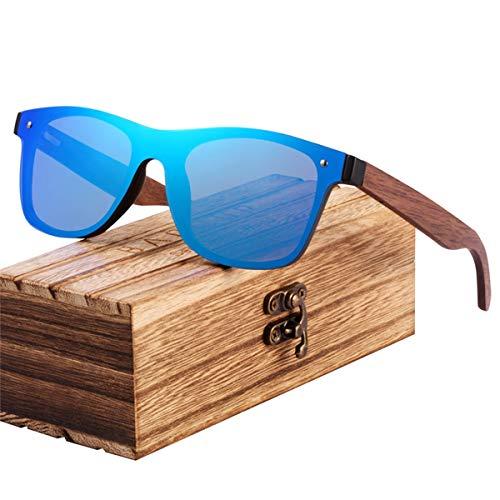 Sport-Sonnenbrillen, Vintage Sonnenbrillen, NEW Fashion Wooden Sunglasses Men Bamboo Temple Sun Glasses Women Wood Glasses Oculos De Sol Masculino Blue Walnut temples (Objektiv Kratzer-entferner)