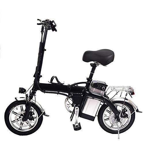 Elektrisches Mountainbike Elektrofahrrad Faltbares Mountainbike 14Zoll E-Bike mit LED-Scheinwerfer 2019 Neue Mini Mountainbike Klappbar, Verstellbarer Sitz, für im Freien Reisende (Schwarz)