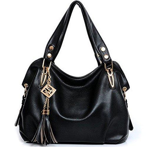 koson-man-mujer-charol-boutique-matel-borlas-tote-bolsas-asa-superior-bolso-de-mano-negro-negro-kmuk