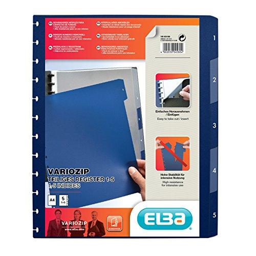 Elba vario-zipp 61464FL - Divisori per cartellina ad anelli, 320 x 245 x 3mm, 5 (3 Raccoglitore Ad Anelli Divisori)