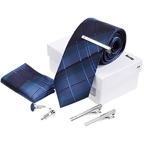 Rovtop Herren Krawatte Geschenkbox Set Montieren Krawatte, Manschettenknöpfe, 3 Krawattenklammern, handgenähte Simulation Silk Geschenkbox Blau
