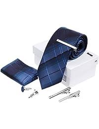 Rovtop Corbatas de Hombre Enrejado Caja Regalo Conjunto Simulación Cosidas a Mano (Azul)