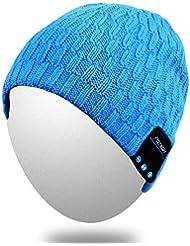 Bluetooth Beanie, Qshell lavable Música gorra con altavoz estéreo sin hilos del Sobre la oreja los auriculares auriculares micrófono de manos libres para Iphone Ipad Samsung Android teléfonos celulares, de regalo de Navidad - Azul