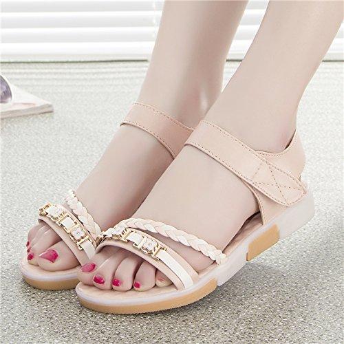 XY&GKDie Summer School Dick unten Toe Sandalen sind flach mit flachen Rutschfeste Schuhe Freizeit Studentinnen, komfortabel und schön 38 Pink