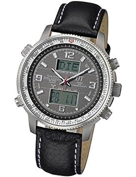 Eco Tech Time Solar Drive Funk Professional Pilot Titan Herrenuhr EGT-11207-21L World Timer, Leder Armbanduhr