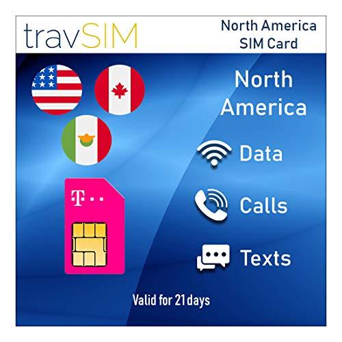 travSIM T-Mobile Prepaid SIM-Karte USA, Kanada & Mexiko - 50GB US - 5GB CA & MX - 4G / LTE Daten, Unbegrenzte Nationale Sprachanrufe & SMS - Gültig für 21 Tage