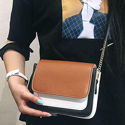 Moda Donna Pu Pelle Catena Borsa Crossbody Spalla Borsa Messenger Telefono Borsa di Kangrunmy Marrone