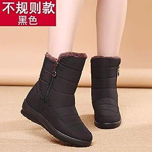 BYUYAN Stiefel Schnee im Winter Stiefel weiblichen Anti-Slip warme und Wasserdichte Baumwolle Dicke Baumwolle Schuhe mit flachem Boden weich, Schwangere Frauen Baumwolle Stiefel