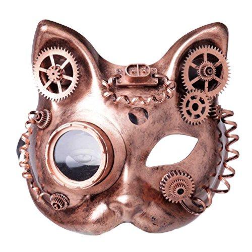 GEEKINVADER Venezianische Steampunk Burning Man Maske mit Zahnrädern Katzenmaske mit Binokular Halbes Gesicht mit Zahnrädern über 14 Modelle - Ideen Teufel Halloween Kinderschminken