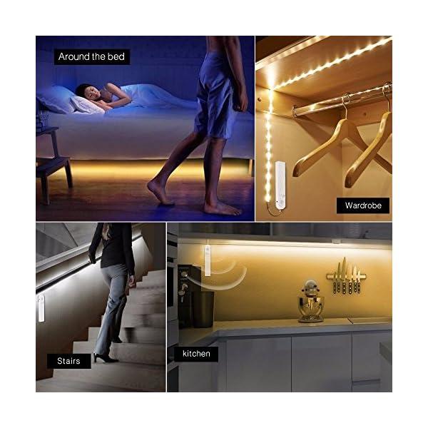 Tiras Leds Iluminación, OriFiil 45LED 1.5M Luz Armario Luces LED Nocturna con Sensor de Movimiento para Pasillo Baño…