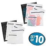 mDesign Juego de 10 bolsas para lavadora con cremallera inoxidable – Modernas bolsas para la colada – Bolsas para ropa sucia, ropa delicada y calcetines – blanco/negro