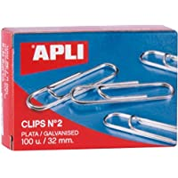 Apli 11714 - Pack de 100 clips, color plata