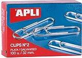 11714 - Apli-Caja clips plata nº2 32mm 100u, Nº 2-32 mm, Plata