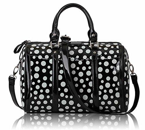 LeahWard® Damen Niedlich Mode Dot Taschen Handtaschen Essener Chic Qualität Tasche LS0069 (Schwarz Dot) (Polka Handtasche Tote Dot)