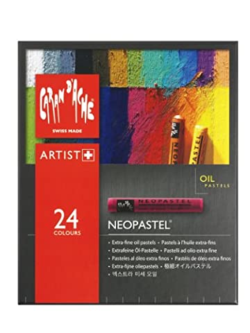 Caran D'Ache Neopastel artists quality colouring oil pastels tin set of 24 assorted (Olio Cera Fine)