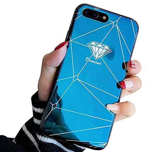 MoreChioce kompatibel mit iPhone 8 Plus Hülle,kompatibel mit iPhone 7 Plus Hülle Silikon, Luxus Blaues Licht Glitzer Funkeln Durchsichtig Kristall Flexible Case Crystal Case Bumper,EINWEG