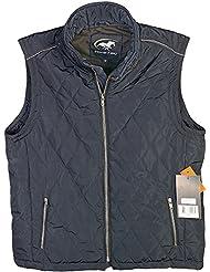 powerfield Mens azul marino acolchado sin mangas chaqueta chaleco Premium calidad con bolsillos y 100% algodón forro interior, azul marino