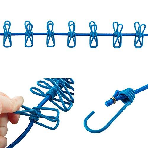 TRIXES Flexible und kompakte Reise-Wäscheleine mit 12 Klammern in Blau - 4