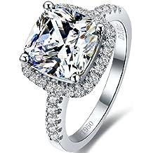 VVS1 nscd diamante y anillo de compromiso conjunto en 18 K Goldover plata 3,00