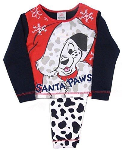 Kleinkinder Mädchen 101 Dalmatiner Schlafanzüge Christmas festlich Nachtwäsche 12-18M to 3 - weiß und rot, (101 Mädchen Dalmatiner Kostüm)