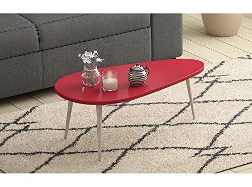 Usinestreet Table basse scandinave WOODY laquée avec pieds en bois massif - Couleur - Rouge
