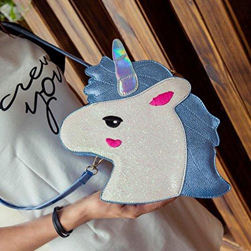 Sharplace Borsa Da Ragazze A Spalla Cavallino Unicorno Carino Regalo Di Compleanno Blu