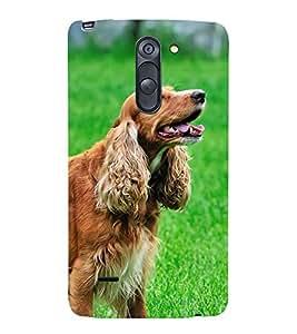 Fiobs Designer Back Case Cover for LG G3 Stylus :: LG G3 Stylus D690N :: LG G3 Stylus D690 (Black Dog Kutta Brown Friend)
