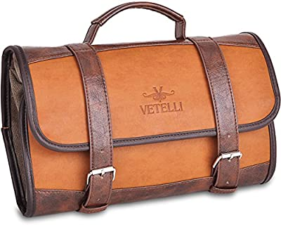 Vetelli Men's Hanging Toiletry Bag - Dopp Kit / Travel Accessories Bag One Size Brown