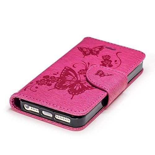 Coque pour iPhone 5 5S 5G / iPhone SE,Housse en cuir pour iPhone 5 5S 5G / iPhone SE,Ecoway motif ours gaufrage en cuir PU Cuir Flip Magnétique Portefeuille Etui Housse de Protection Coque Étui Case C Red Rose papillon embosser