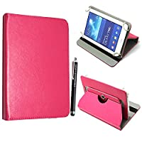 Kamal StarŽ Universal Premium Quality PU Leather 360 Stand Case Cover Fits All Android Tablets devices + Stylus (UNIVERSAL 7.0' INCH, Pink Flip)