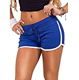 Hosaire Femme Short de Sport Casual Yoga Fitness Mode Plage avec Bords Colorés Vert/Bleu/Rose