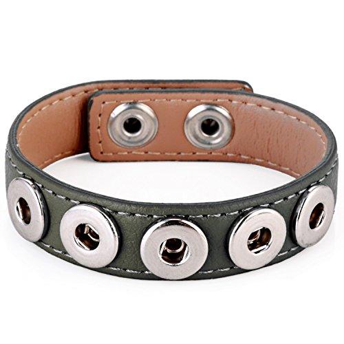 Mini Armband (Morella® Damen Armband für SMALL Click-Button Druckknopf 12 mm Ø - grau)