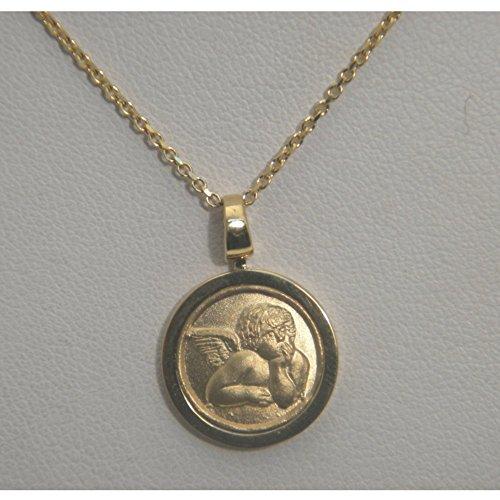 Collana rolò ORO GIALLO 18 kt - Pendente medaglia con ANGELO in rilievo - chiusura moshettone - Oro Collana In Rilievo