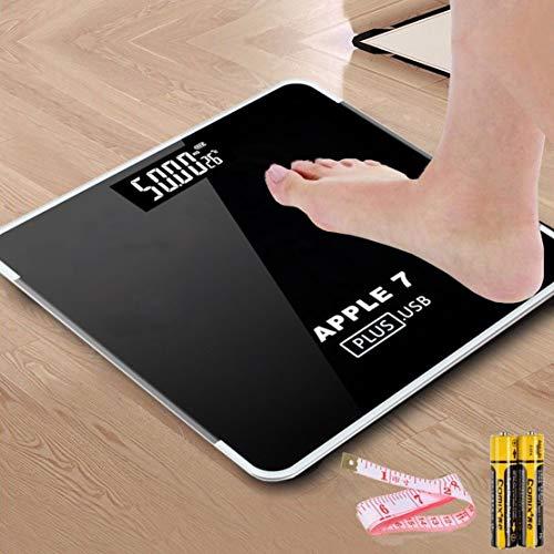 HiXB Körpergewicht Waage Hochpräzise Digitale Personenwaage Elektronische Waage USB-Aufladung,Black,BatteryPowered