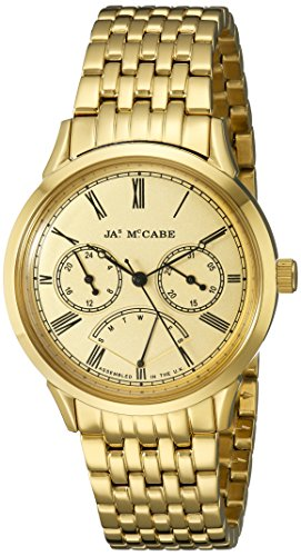 James McCabe Men's JM-1019-22 Heritage Analog Display Japanese Quartz Gold Watch
