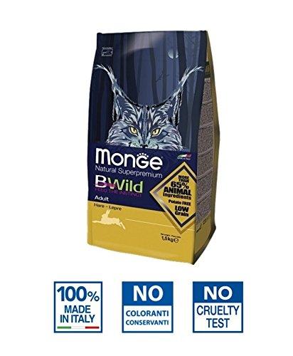 Monge Natural Superpremium BWild Lepre 1,5 kg - Alimento completo al gusto lepre, per gatti adulti