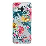 Miagon Galaxy S8 Plus Transparent Handyhülle,Silikon Hülle für Samsung S8 Plus, Schön Kreativ Blatt Rot Blume Muster Weiche Silikon Schutzhülle für Samsung Galaxy S8 Plus