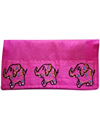 Literacy India Indha Handmade Embroidered Clutch Purse In PInk Color For Women